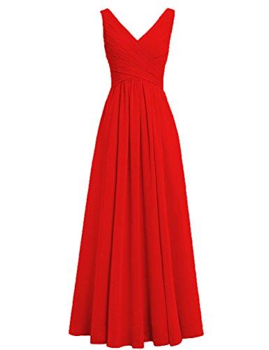 HUINI Brautjungfernkleider Rückenfrei Lang V-Ausschnitt Chiffon A-Linie Abendkleider Ballkleider Festliche Kleider Hochzeit Rot 50