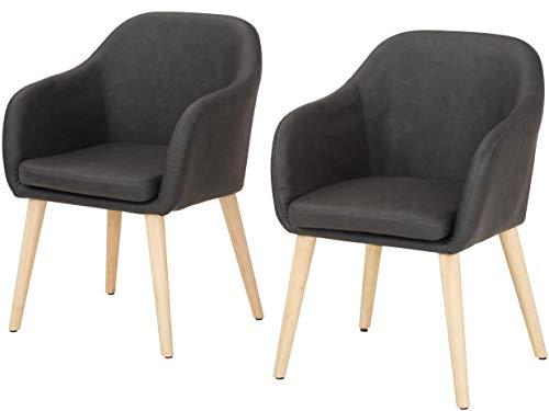 Preisvergleich Produktbild PALDAR 2er-Set Esszimmerstuhl Armlehnstuhl Lounge Sessel Besucherstuhl Wartestuhl Clubsessel Kunstleder Skandinavisch Retro (Vintage / grau)