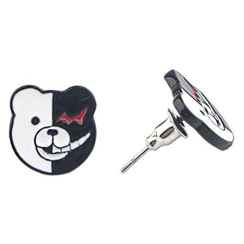 Saicowordist Danganronpa Anime Stud Earrings Cute Cartoon Alloy Ear Jewelry Girls Accessories Anime Fans Gift( Monokuma)