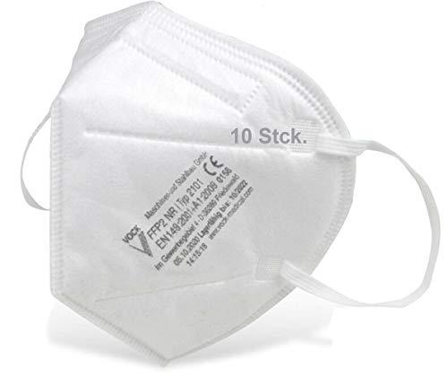 faciemF®, 10 Stck. FFP2 Atemschutzmaske | Masken für Mund - und Nasenschutz | Universalmaske als Partikelschutz | DEKRA (0158) geprüft | Made in Germany | sofort ab Lager lieferbar (10)