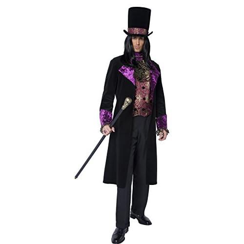 SMIFFYS Costume Conte Gotico, comprende Gilet Finto, Foulard attaccato, Giacca e Cappell