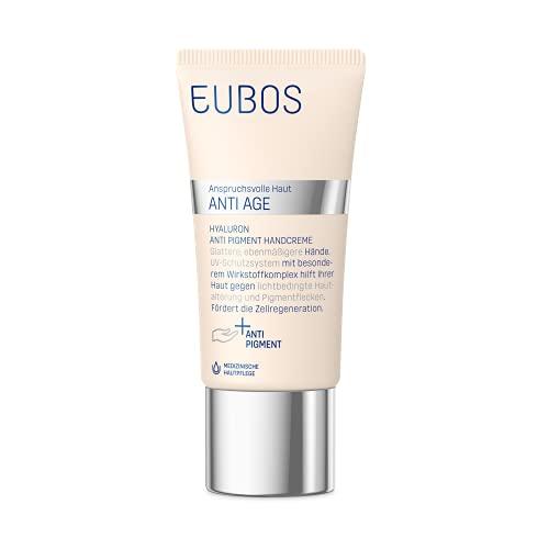 Eubos | Hyaluron Anti- Pigment- Handcreme | 50ml | für alle Hauttypen | Hautverträglichkeit dermatologisch bestätigt |für jünger wirkende Hände | High-Tech gegen Falten