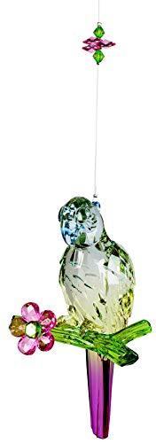 dekojohnson luxe raamdecoratie acryl hanger-Papegei raamversiering hangdecoratie lentedecoratie bont acryl blauwachtig lila groen 25cm zonnevanger