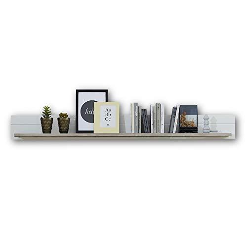 CELIA Wandboard in Silber-Eiche Optik - hochwertiges und vielseitig einsetzbares Wandregal - 165 x 18 x 20 cm (B/H/T)