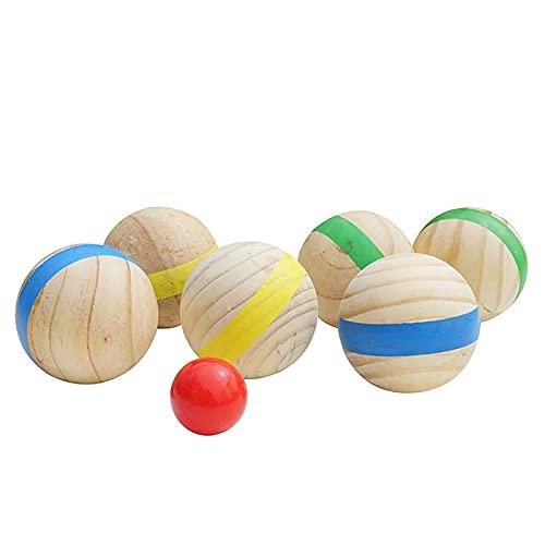 Xeroy 6 Bolas De Madera Natural Y Una Pequeña Bola Roja, Bola De Petanca De Madera para Diversión Informal, Deportes Recreativos Al Aire Libre, Juego De Lanzamiento