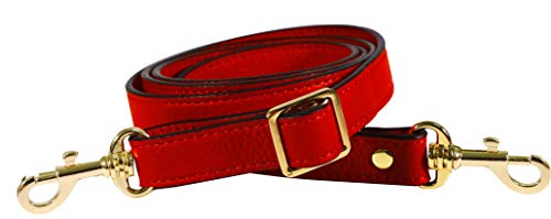 SeptCity Top Quality Grain Leather Adjustable Shoulder Straps -1.8 CM Width(20 Color)(Red)