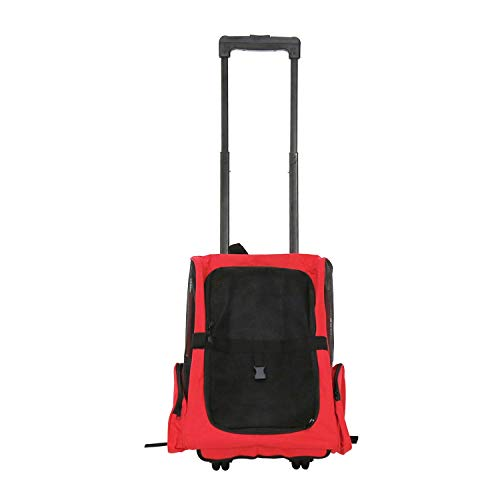 Peach Tree Pet Rolling Carrier Backpack Airline Approved Dog Cat Wheel Around Luggage Bag, Red