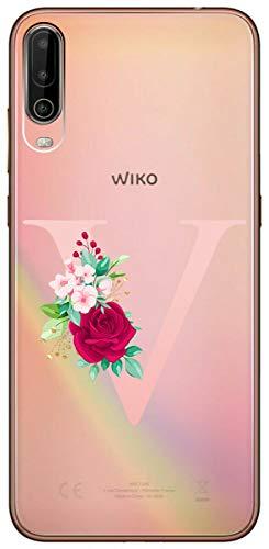 Mixroom Schutzhülle für Wiko View 4, Motiv Buchstaben V mit Blumen