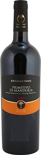 6x 0,75l - 2018er - Cantina Due Palme - Sangaetano - Primitivo di Manduria D.O.C. - Apulien - Italien - Rotwein trocken