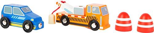 Abschleppdienst-Set mit hohem Holzanteil, 100% FSC®-zertifiziert, ein Abschleppwagen, ein PKW und zwei Warnleuchten, magnetisches Abschleppseil, kompatibel mit allen gängigen Holzeisenbahnen