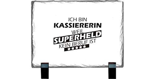 Shirtstown Lavagna in Ardesia 15 x 20 cm, Supereroe per Il miglior Lavoro del Mondo, collega, Job,...