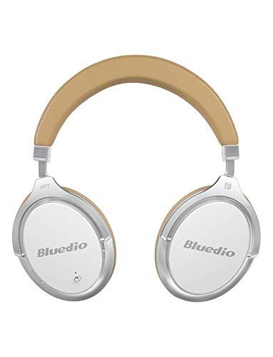 Bluedio Bluetooth Headphones Over Ear, Active Noise Cancelling Over-Ear Headphones F2 Wireless Bluetooth Headsets with Mic (White)