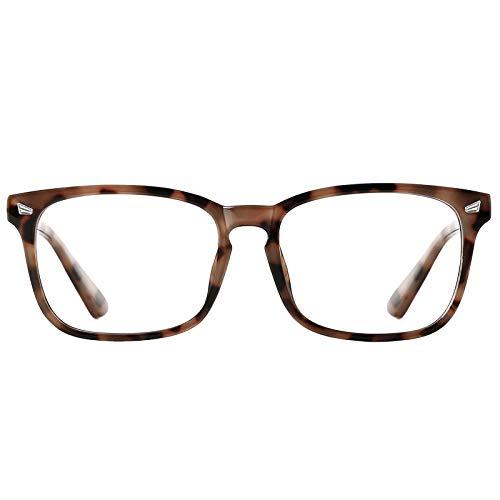 TIJN Blue Light Blocking Glasses for Women Men Clear Frame Square Nerd Eyeglasses Anti Blue Ray Computer Screen Glasses ((12)tortoise)