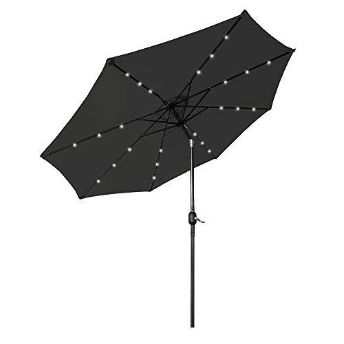 LZQ Sonnenschirm mit LED, Ø 300 cm, Marktschirm mit Kurbel, UV-Schutz UPF 40+, Gartenschirm, Terrassenschirm, Sonnenschutz, ohne Ständer, Outdoor, für Garten, Balkon, Terrasse, Dunkelgrau