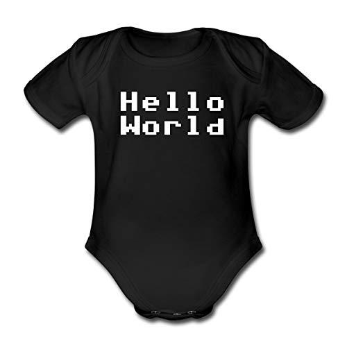 Spreadshirt Naissance Geek Hello World Body Bébé Bio Manches Courtes, 0 Mois, Noir