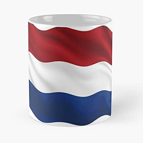 Netherlands Waving | Soporte de agradecimiento de los fanáticos del fútbol – Mejor taza de café de cerámica blanca de 11 onzas