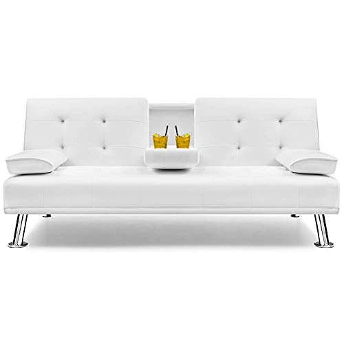 Flamaker Futon Sofa Bed Modern Faux Leather Couch, Convertible Folding Recliner Lounge Futon Couch for Living Room with 2 Cup Holders with Armrest (White)