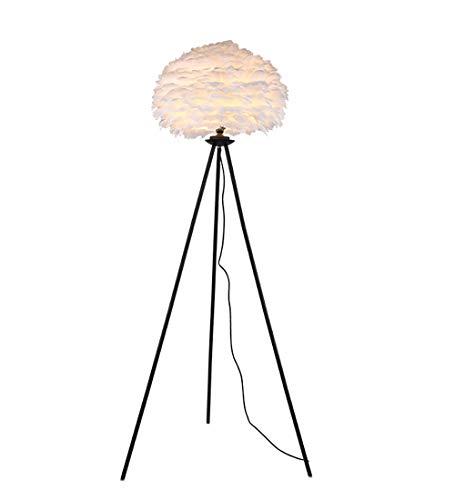 Surpars House Elegant Floor Lamp White Feather Shade Bedside Lamp for Bedroom,Living Room,Girls Room