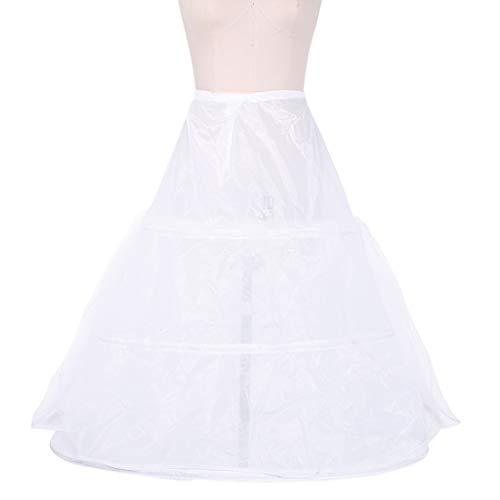 PHILSP Mujeres Nupcial 3 Aros Enagua Maxi-Longitud Cintura con cordón Vestido de Bola de Varias Capas Vestido de Novia Bustle Crinoline Underskirt
