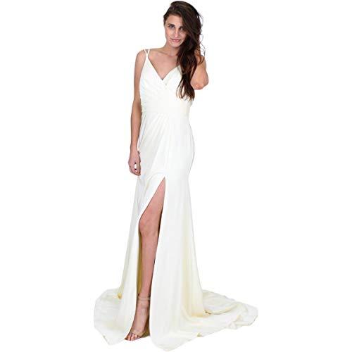 JVN by Jovani Womens 50428A Prom Spaghetti Straps Evening Dress Ivory 6