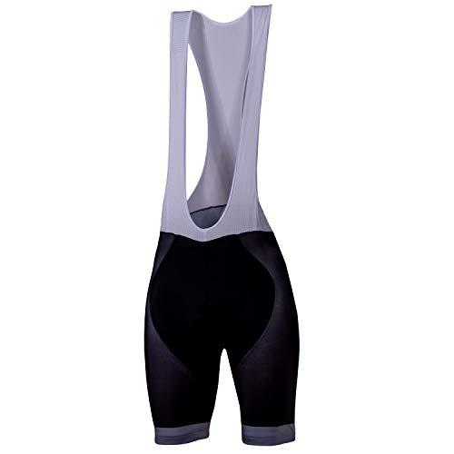 CHRISSON Essential Whiteline M Schwarz-Weiß-Grau Fahrrad Trägerhose Kurz für Herren, Radhose mit Gel Sitzpolster, Atmungsaktive Fahrradbekleidung, Fahrrad-Strumpfhose mit Trägern für Männer