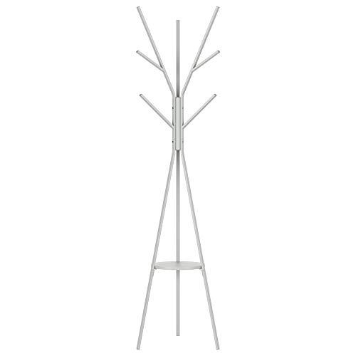 Homfa 180cm Garderobenständer Gaderobe Kleiderständer freistehende Garderobe in Baumform mit 9 Haken und 1 Ablage Grau 180x43.5x43.5cm
