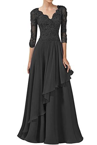 Abendkleider Spitzen Lang Ballkleider Hochzeitskleid A-Linie Brautjungfernkleider 3/4Ärmel Elegant Brautmutterkleider Festkleider Schwarz 44