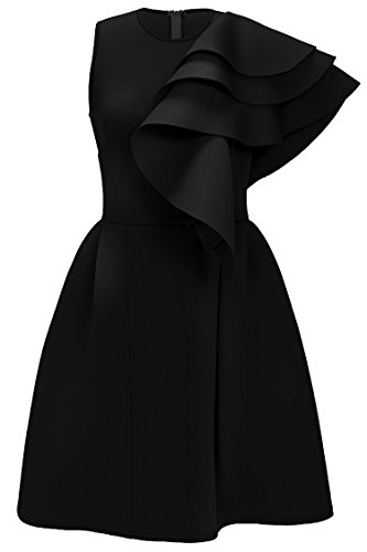 Uhnice Women's Ruffle One Shoulder Bodycon Party Club Cocktail Evening Dress (X-Large, Black)