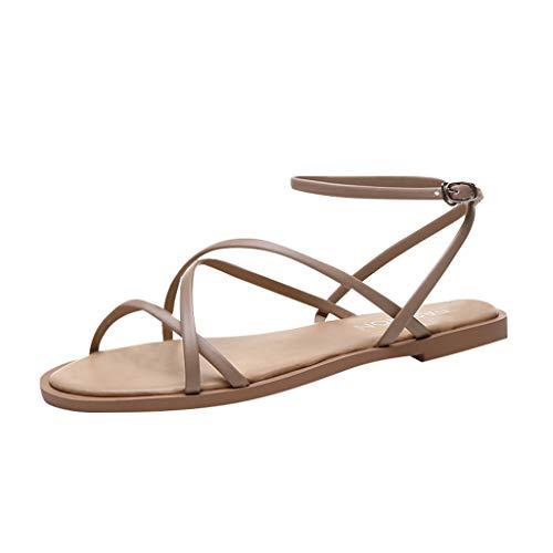 Sandalias de Verano para Mujer de Tohole, Planas, con Correas Trenzadas, cómodas Correas transversales con Dedos Abiertos, Sandalias Boho Sencillas de un Solo Color