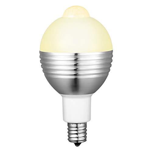 LED電球 E17 人感センサー センサー電球 高輝度 自動点灯 自動消灯 7W 50形相当 口金 センサーライト 消し忘れ防止 玄関 階段 廊下 洗面所 室内 (電球色)MERISNY