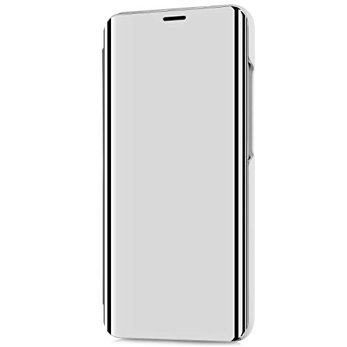 Kompatibel mit LG V30/LG V30 Plus/LG V30S ThinQ Hülle Schutzhülle PU-Leder Flip Überzug Spiegel 360-Grad-Schutz Tasche Ledertasche Handytasche Lederhülle Hülle Bookstyle Ständer Hart PC Hülle,Silber