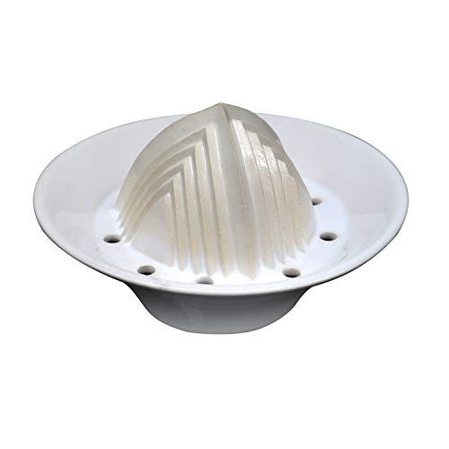 ANCKERAMIC® Zitronenpresse Keramik, handgemachte Saftpresse manuell, Entsafter für Zitronen, Limetten & Orangen (Weiß)