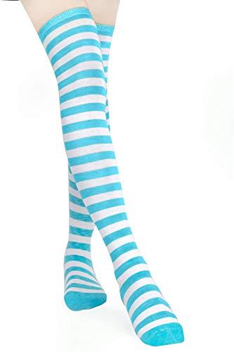 HABI 1 Paar Gestreifte blau & weiß Kniestrümpfe Frauen über Knie-Lange Overknee Überknie Strümpfe cosplay Kostüm