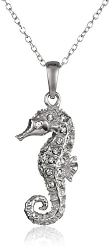 Sterling Silver Seahorse Pendant Necklace Made with Swarovski Crystal (18')