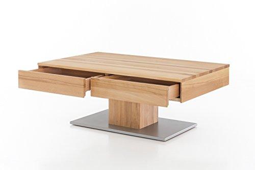 Woodlive Massivholz Couchtisch rechteckig aus Kernbuche, geölter Wohnzimmer-Tisch, Beistelltisch inkl. Schublade, Tisch 110 x 70 cm