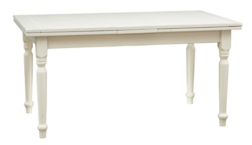 Biscottini Table Extensible en Bois Massif de Tilleul – Style Rustique – Structure et Plateau Blanc Vieilli L 160 x P 80 x H 80 cm