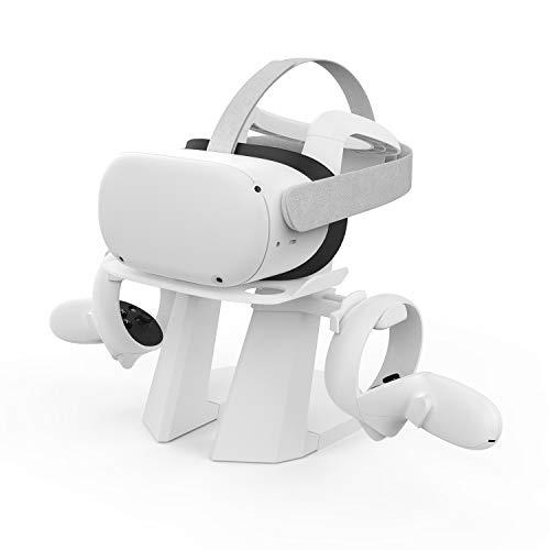 AMVR Versione Aggiornata 2° Supporto VR, Più Stabile Supporto Per Display E Controller Di Montaggio Per Oculus Quest 1, Quest 2, Rift, Rift S Headset E Touch Controller (Bianco)
