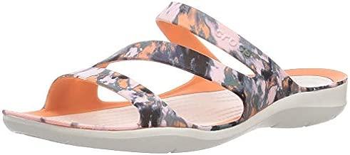 Crocs Swiftwater Tie-Dye Mania Sandal Grapefruit/Almost White 8