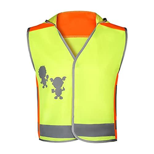 NIÑOS S Vestido reflectante Víspera Vestimiento Vestido Vestido Yellow Reflective-Elástico Malla Paño Piel Feliz Piel Chaleco Reflectante Guardias Niños (tamaño : XX-Large)