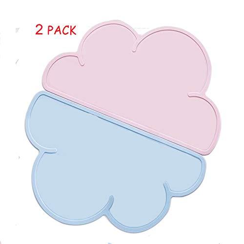 Kinder Tischset, 2pcs BPA-frei Platzdeckchen,Kinder Silikon Untersetzer Tisch-Sets Platzset, Wolken-Form, Das Tischset für Essanfänger,rutschfest,abwaschbar, Tischunterlage Kinder, Pink and Blau