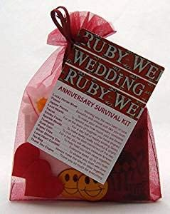 Cleverlittlegifts 40th Ruby Wedding Anniversary Survival Kit Novelty Gift Idea Fun Present 40th Ruby Amazon Co Uk Kitchen Home