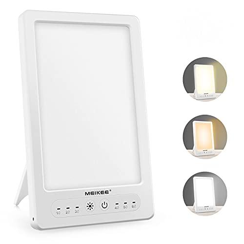 MEIKEE 12000lux 光療法 調光 三つの色温度 フルスペクトル LED ランプ 目の保護 ランプ 体内時計 寝坊 光 目覚まし時計 折りたたみ式収納 壁掛け穴あり