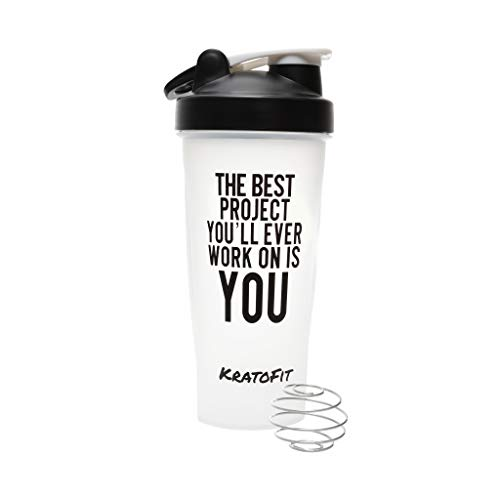 KratoFit 28OZ Protein Shaker Bottle for Gym, Cup, Gym Powder Mixer, Blender, BPA Free, Multiple Designs and Colors (Best Project - Black)