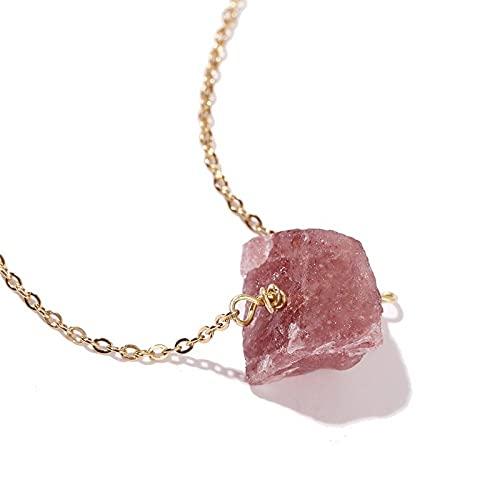 Collares colgantes de piedra para mujer, collar de piedras naturales hermoso cuarzo rosa colgante irregular cadena de clavícula dorada señoras 7 chakras yoga joyería pareja regalo para amigos familia cumpleaños