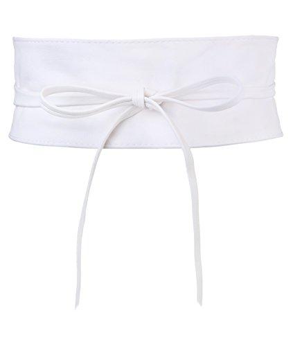 women wide belt white coral color