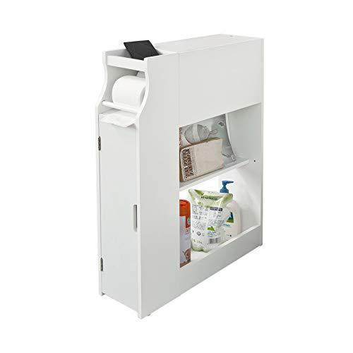 SoBuy FRG52-W Meuble de rangement Armoire WC pour papier toilette, Porte brosse WC avec porte-revues –Blanc