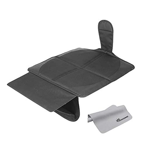 Raksonic 2020進化版 安全座席保護マット チャイルドシートマット 車座席保護シート 四層保護 滑り止め区域を4つ追加 取り外し可能フットレスト付き 滑り止め 耐磨 防水 自動車汎用 カー用品