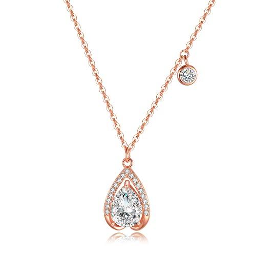 Immobird Collar de plata 925 con colgante de lágrima para mujer con circonitas