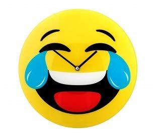79/3230 Reloj de pared de vidrio del emoticono llorar de risa diámetro de 30 cm