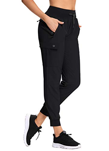RlaGed Women's Lounge Cargo Hiking Pants Lightweight Joggers Quick Dry Water Resistant Outdoor Fishing UPF 50+ Sweatpants with Zipper Pockets Black l